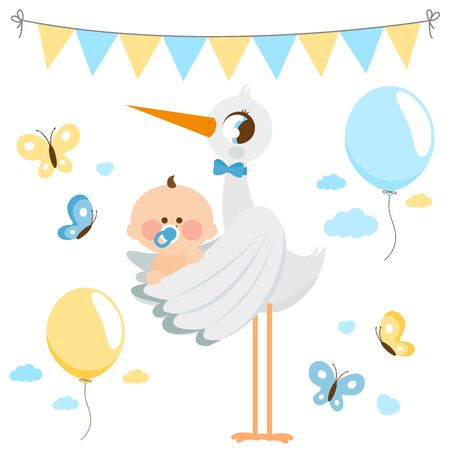 Stork delivering a new baby boy. Vector collection