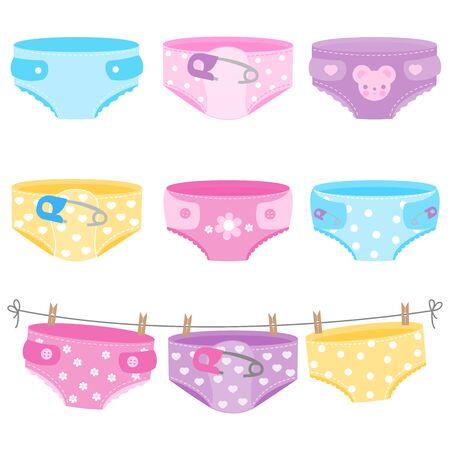 Couches pour bébés aux couleurs bleu, jaune, violet et rose. Collection de vecteurs Vecteurs
