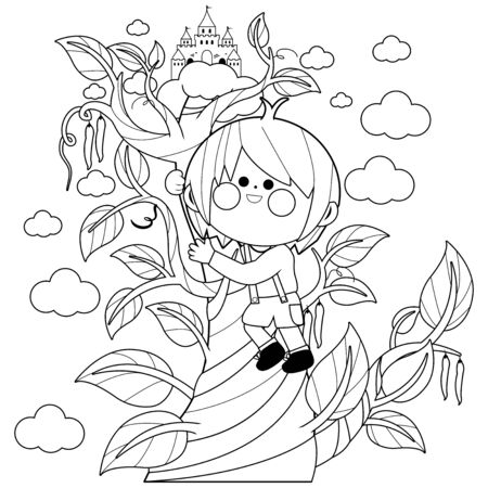 Jack climbing the magic beanstalk. Vector black and white coloring page