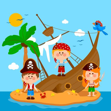Pirates and shipwreck on an island. Vector illustration