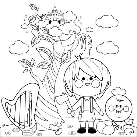 Jack and the magic beanstalk. Vector black and white coloring page.