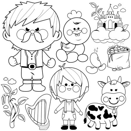 Jack and the magic beanstalk fairytale vector collection. Vector black and white coloring page.