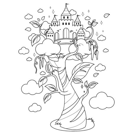 Magic beanstalk and castle. Vector black and white coloring page. Vetores