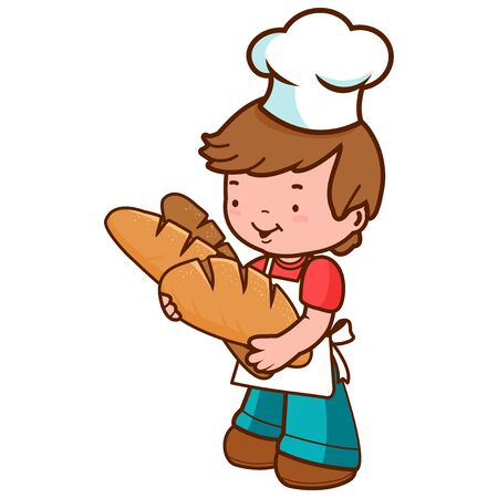Child baker chef holding freshly baked loafs of bread. Vector illustration Vetores