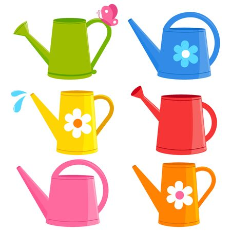 Colorful watering cans on white
