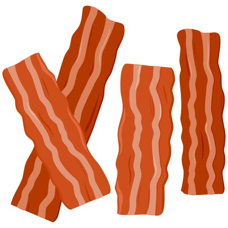 Slices of fried crispy bacon. Vector illustration