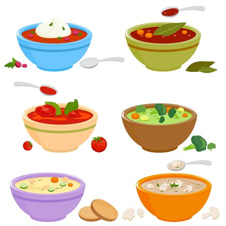 Collection of bowls of different types of soup. Vector illustration