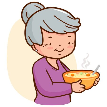 An old woman, holding a steaming hot bowl of soup. Vector illustration