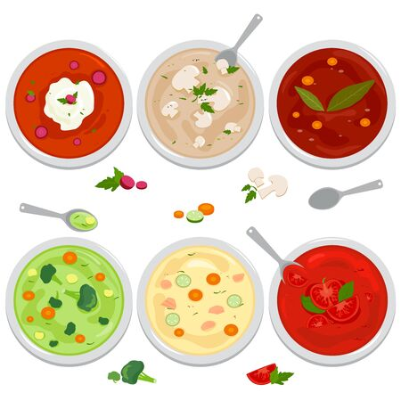 Vector set of bowls of soup with vegetables, mushrooms, chicken, Russian borscht soup, tomato and lentil soup on white background. Top view.