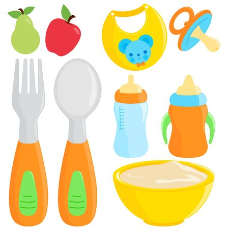 Baby food tableware set. Vector illustration collection