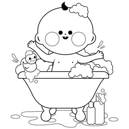 Baby taking a bath. Vector black and white coloring page