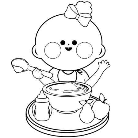 Baby girl eating cereal. Vector black and white coloring page