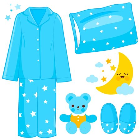Blue children pajamas and sleep time related objects. Vector illustration Vektorgrafik