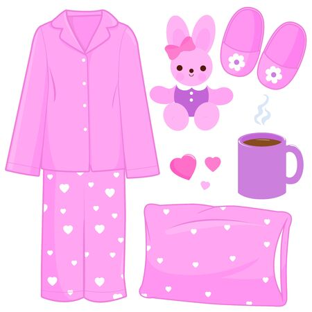 Vector illustration collection of children pajamas and sleep related objects.