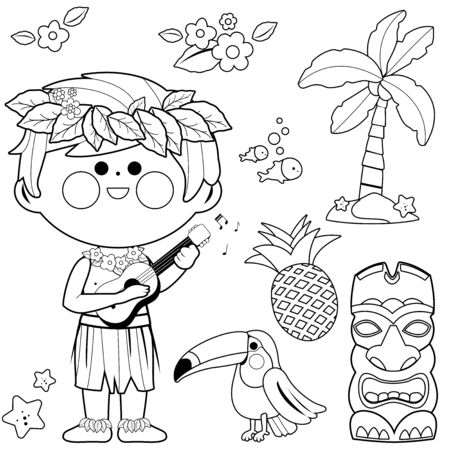 Hawaiian boy playing music with his guitar. Vector black and white coloring page