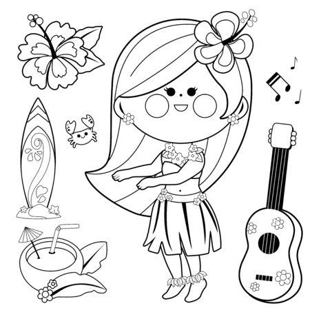 Hawaiian hula dancing girl. Vector black and white coloring page Vector Illustration