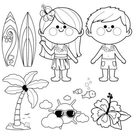 Hawaii vacation children. Beach summer vacation design elements. Vector black and white coloring page Illustration