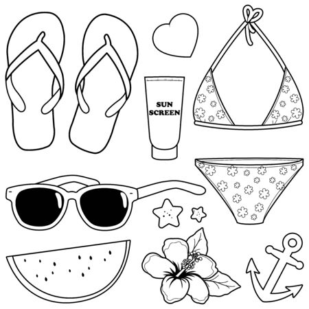Beach summer vacation design elements. Vector black and white coloring page