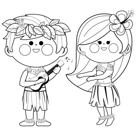 Hawaiian children playing music and hula dancing. Vector black and white coloring page
