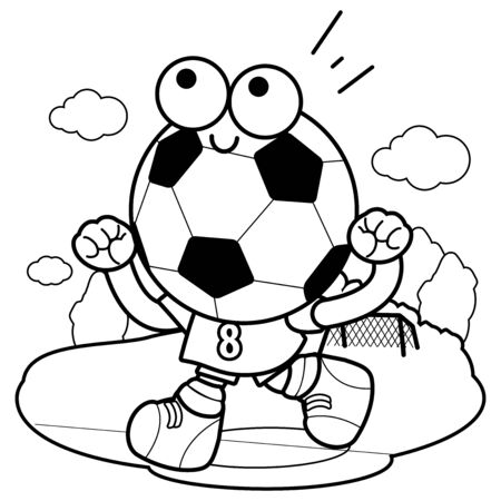 A soccer ball character running and cheering on the football field. Vector black and white coloring page