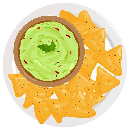 Dish with avocado guacamole sauce and nachos chips. Иллюстрация