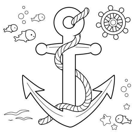 Nautical collection with anchor, boat rudder and fish with rope. Vector black and white coloring book page
