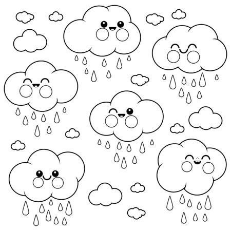 Cute raining cloud characters. Vector black and white coloring book page