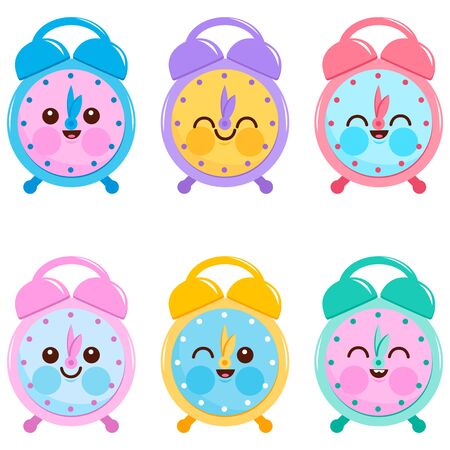 Cute colorful alarm clock characters. Vector illustration