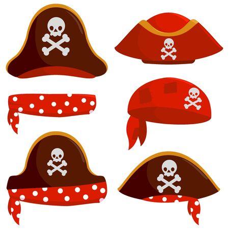 Pirate captain hats. Vector illustration set Иллюстрация