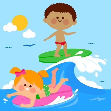 Children surfing on a wave in the sea. Vector illustration