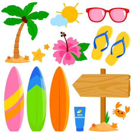 Colorful summer surfing illustration collection. Vector illustration