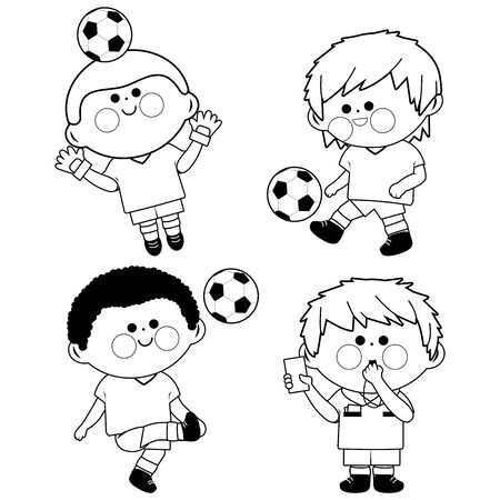 Children soccer players, a goal keeper and a referee. Vector black and white coloring book page