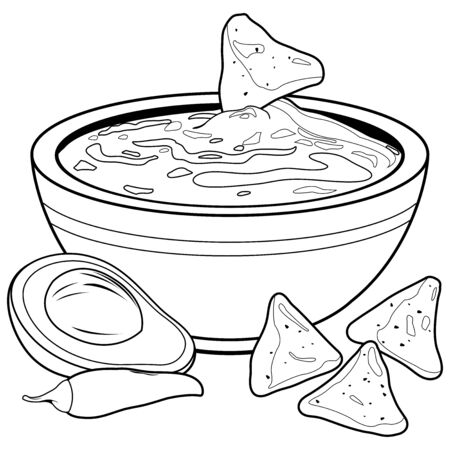 Bowl of avocado guacamole and nachos chips. Vector black and white coloring page
