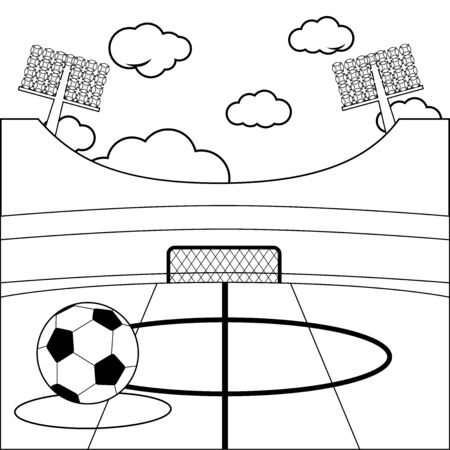 Soccer stadium. Vector black and white coloring page Иллюстрация