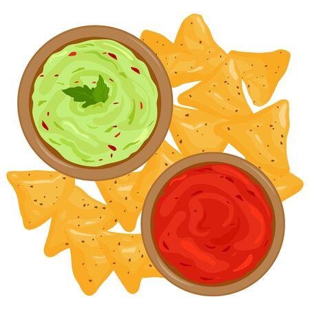 Bowls of avocado guacamole dip, tomato salsa sauce and nachos chips. Vector illustration Иллюстрация