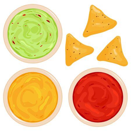 Bowls of avocado guacamole dip, tomato salsa, cheese sauce and nachos chips. Vector illustration