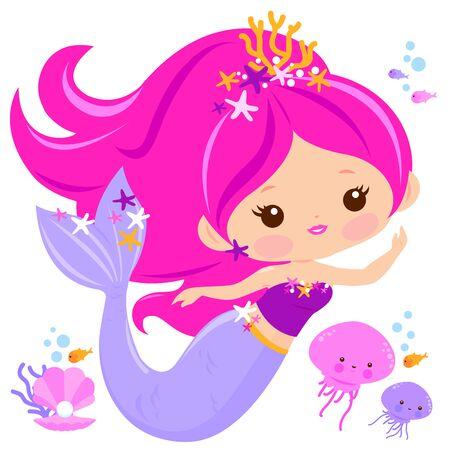 Beautiful mermaid and sea animals. Vector illustration Иллюстрация