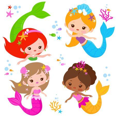 Cute mermaids set and sea animals. Vector illustration