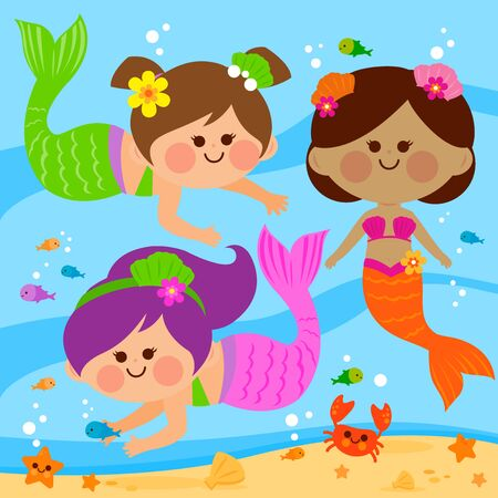 Beautiful mermaids swimming underwater. Vector illustration