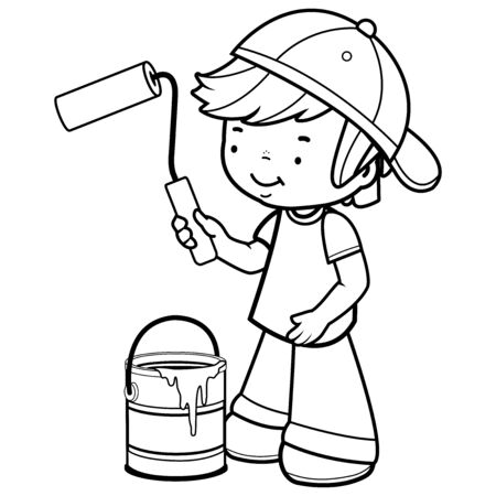 Boy painting with a paint roller and a paint bucket. Vector black and white illustration