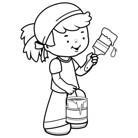 Girl painting with a paint brush and holding a paint bucket. Vector black and white illustration