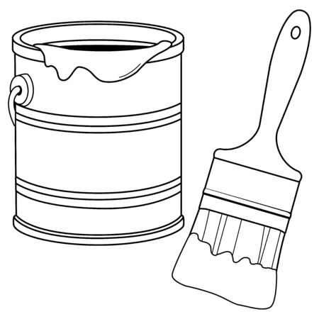 Paint bucket and a brush. Vector black and white coloring page