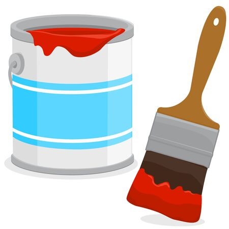 Red paint can and a paint brush. Vector illustration