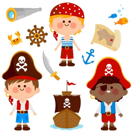 Vector collection of boys with pirate costumes, a ship and other pirate themed illustrations.