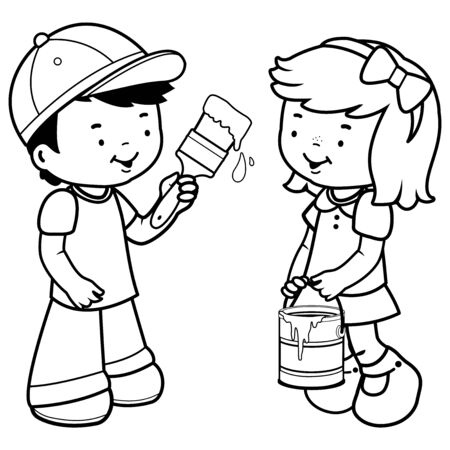 Children painting with a paint brush. Vector black and white coloring page