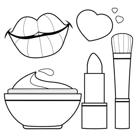 Cosmetics collection. Vector black and white coloring book page