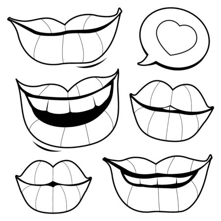 Smiling lips. Vector black and white coloring page