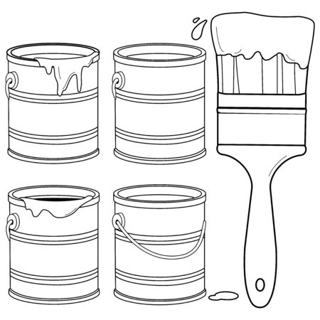 Paint supplies. Cans, paint buckets and a paint brush. Vector black and white illustration