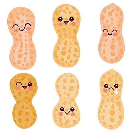 Cute peanut characters. Vector illustration set.