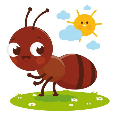 Cute ant cartoon in the grass. Vector illustration